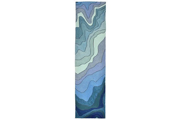 Home Accents Highlands Sea Scape Indoor/Outdoor Runner 2' x 8' by Ashley HomeStore, Blue