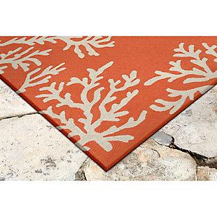 "Home Accents Fortina Beach Border Indoor/Outdoor Rug 5' x 7'6"", Orange, rollover"