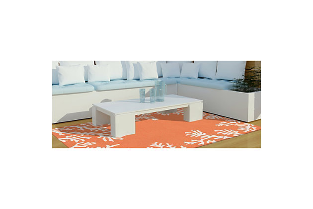 """Home Accents Fortina Beach Border Indoor/Outdoor Rug 5' x 7'6"""", Orange, large"""