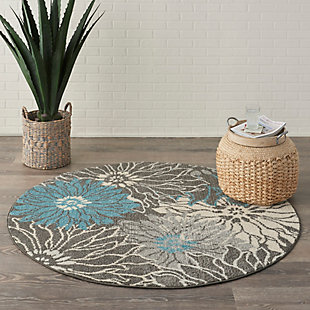 Nourison Passion 4' Round Charcoal And Blue Area Rug, Charcoal/Blue, rollover