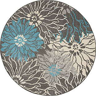 Nourison Passion 4' Round Charcoal And Blue Area Rug, Charcoal/Blue, large