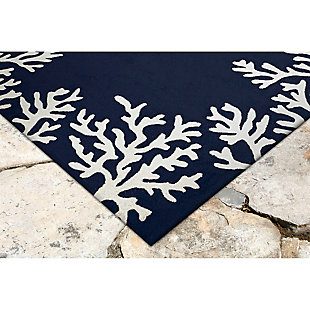 """Home Accents Fortina Beach Border Indoor/Outdoor Rug 5' x 7'6"""", Blue, rollover"""