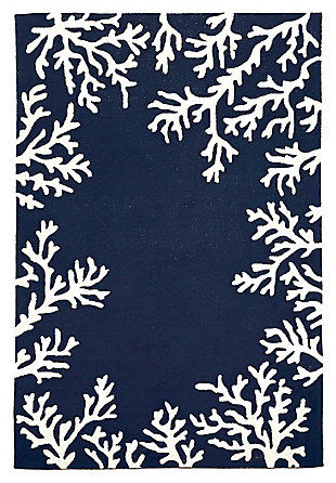 """Home Accents Fortina Beach Border Indoor/Outdoor Rug 5' x 7'6"""", Blue, large"""