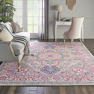 Nourison Passion Gray and Pink 7'x10' Large Rug, Light Gray/Pink, rollover