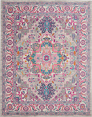 Nourison Passion Gray and Pink 7'x10' Large Rug, Light Gray/Pink, large