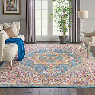 Nourison Passion Teal Multicolor 7'x10' Large Rug, Teal/Multi, rollover