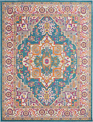 Nourison Passion Teal Multicolor 7'x10' Large Rug, Teal/Multi, large