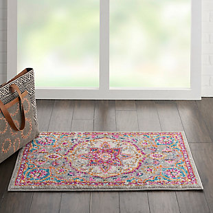 "Nourison Passion Bohemian Grey Multi Colored  1'10""X2'10"" Area Rug, Gray/Multi, rollover"