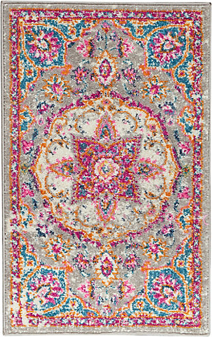 "Nourison Passion Bohemian Grey Multi Colored  1'10""X2'10"" Area Rug, Gray/Multi, large"