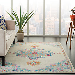 Nourison Passion 5' x 7' Gray, Ivory, Multicolored Bohemian Area Rug, Gray/Multi, rollover