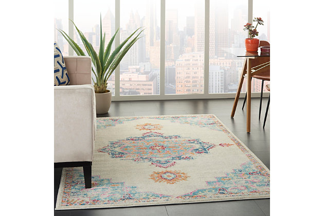 Nourison Passion 5' x 7' Gray, Ivory, Multicolored Bohemian Area Rug, Gray/Multi, large