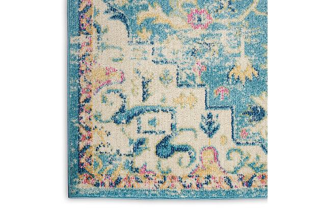 Nourison Passion 8' Runner Ivory, Light Blue Bohemian Area Rug, Ivory/Light Blue, large