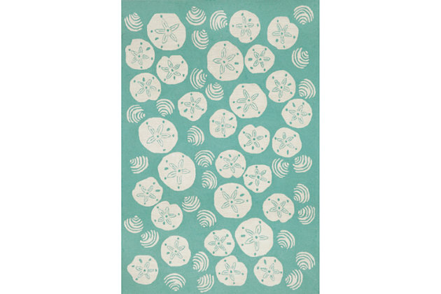 "Home Accents Deckside Sea Shell Indoor/Outdoor Rug 5' x 7'6"", , large"