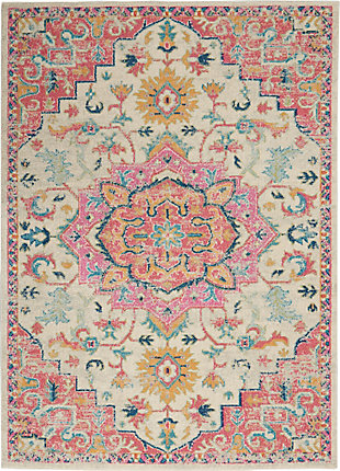 Nourison Passion 7' x 10' Ivory, Pink Bohemian Area Rug, Ivory/Pink, large