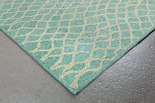 "Home Accents Facet Twirl Indoor/Outdoor Rug 5' x 7'6"", Blue, rollover"