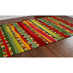 Home Accents Cordoba Ornate Stripe Rug 5' x 8', Red, rollover