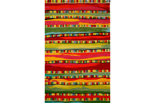 Home Accents Cordoba Ornate Stripe Rug 5' x 8' by Ashley HomeStore, Red