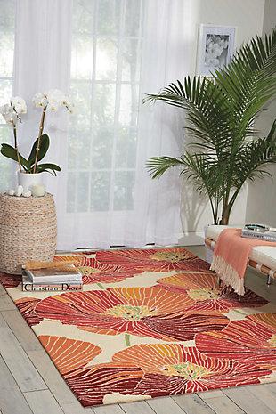 Nourison Fantasy Orange 5'x8' Area Rug, Sunset, rollover