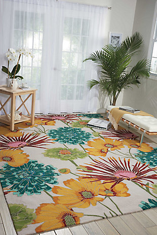 Nourison Fantasy White Multicolor 5'x8' Area Rug, Ivory, rollover