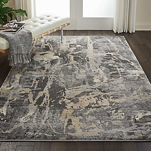 Nourison Fusion Beige and Gray 5'x7' Modern Area Rug, Gray, rollover
