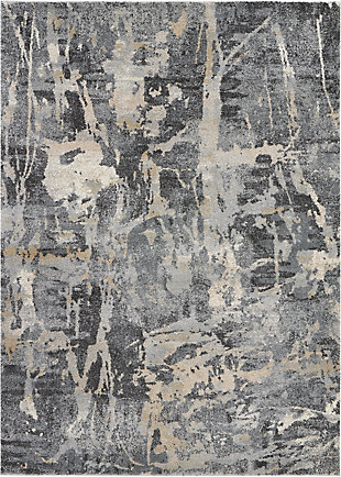 Nourison Fusion Beige and Gray 5'x7' Modern Area Rug, Gray, large