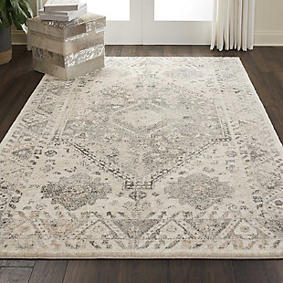 Nourison Fusion Gray 5'x7' Farmhouse Area Rug, Cream/Gray, rollover