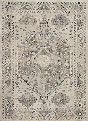 Nourison Fusion Gray 5'x7' Farmhouse Area Rug, Cream/Gray, large