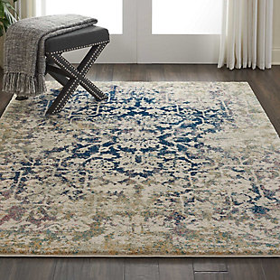 Nourison Fusion Blue and Ivory 5'x7' Vintage Area Rug, Cream/Blue, rollover