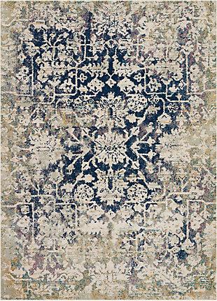 Nourison Fusion Blue And Ivory 5'x7' Vintage Area Rug, Cream/Blue, large