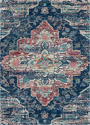 Nourison Fusion Navy Blue Multicolor 5'x7' Oushak Area Rug, Navy/Pink, large