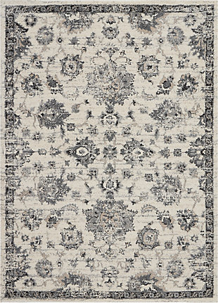 Nourison Fusion Cream and Gray 5'x7' Vintage Area Rug, Cream/Gray, large