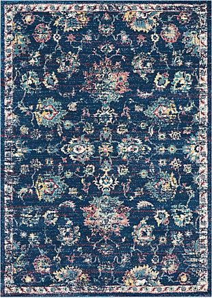 Nourison Fusion Navy Blue Multicolor 5'x7' Vintage Area Rug, Navy/Pink, large