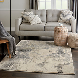 Nourison Fusion Beige and Gray 5'x7' Low-pile Shag Area Rug, Cream Gray, large