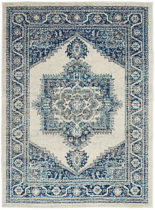Nourison Persian Vintage 5' x 7' Bohemian Style Area Rug, Ivory Blue, large