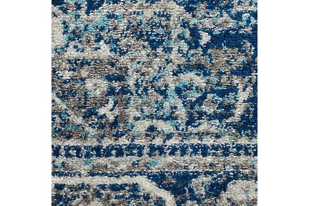 Nourison Persian Vintage 5' X 7' Bohemian Style Area Rug, Ivory Blue, large