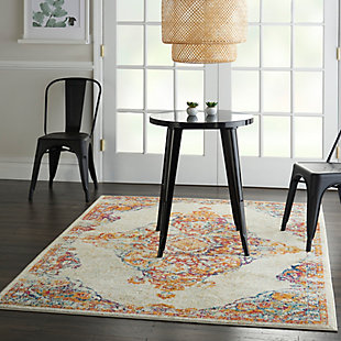 Nourison Persian Vintage 5' x 7' Bohemian Style Area Rug, Ivory/Multi, large