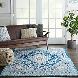 Nourison Persian Vintage 5' X 7' Bohemian Style Area Rug, Ivory Blue, rollover