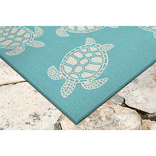"Home Accents Fortina Terrapin Indoor/Outdoor Rug 7'6"" x 9'6"", Blue, rollover"
