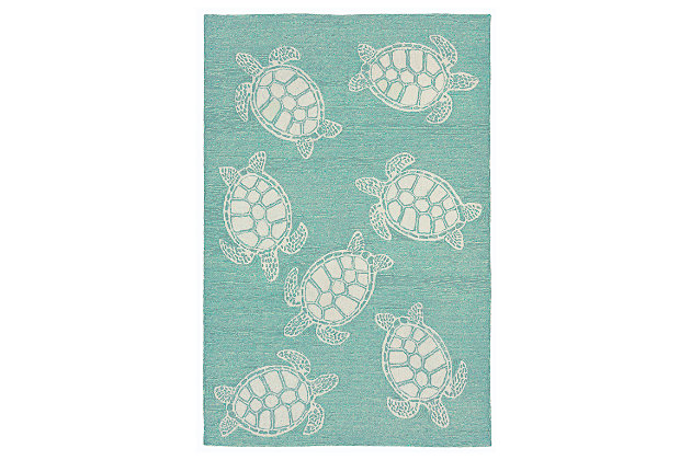 "Home Accents Fortina Terrapin Indoor/Outdoor Rug 7'6"" x 9'6"", Blue, large"