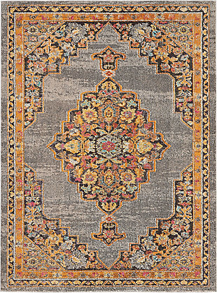 Nourison Passionate PST01 Gray Multicolor 5'x7'Persian Area Rug, Gray, large
