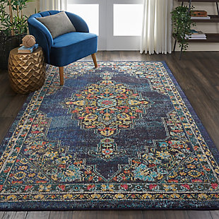 Nourison Passionate PST01 Dark Blue Multicolor 5'x7' Kashan Area Rug, Navy, rollover