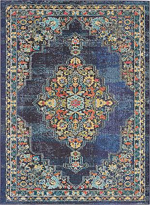 Nourison Passionate PST01 Dark Blue Multicolor 5'x7' Kashan Area Rug, Navy, large