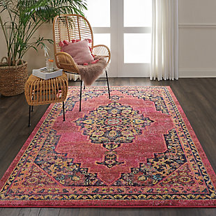Nourison Passionate PST01 Pink Multicolor 5'x7' Boho Area Rug, Pink/Flame, rollover