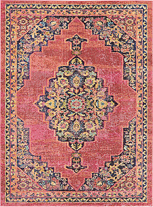 Nourison Passionate PST01 Pink Multicolor 5'x7' Boho Area Rug, Pink/Flame, large