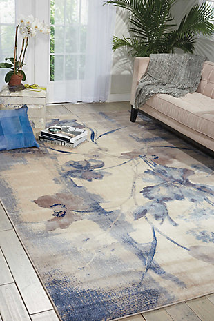 Nourison Somerset 2'x3' Taupe Area Rug, Ivory/Blue, rollover