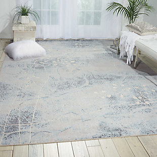 Nourison Somerset ST74 Gray and Blue 8'x11' Rug, Silver/Blue, rollover