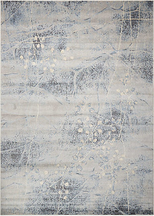 Nourison Somerset ST74 Gray and Blue 8'x11' Rug, Silver/Blue, large