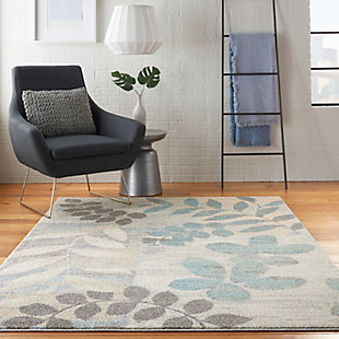 Nourison Tranquil 5' x 7' White and Blue Farmhouse Area Rug, Ivory/Light Blue, rollover