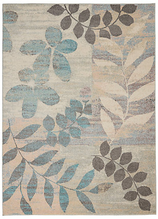 Nourison Tranquil 5' x 7' White and Blue Farmhouse Area Rug, Ivory/Light Blue, large