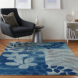 Nourison Tranquil TRA01 Navy Blue 5'x7' Modern Area Rug, Navy/Light Blue, rollover